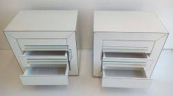 2 Mesas de cabeceira espelhados LOFT 3 gavetas